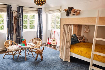 V cool to see the bunk bed  curtains I did for @simoneharouche's son's room included in her home tour with @vogueliving! This was a couple years ago so my close ups are long gone on a mem card somewhere and the second photo was in progress, before they were finished - but you get the idea. Covered with animal friends, cool things, and protection symbols ✨👌🏽