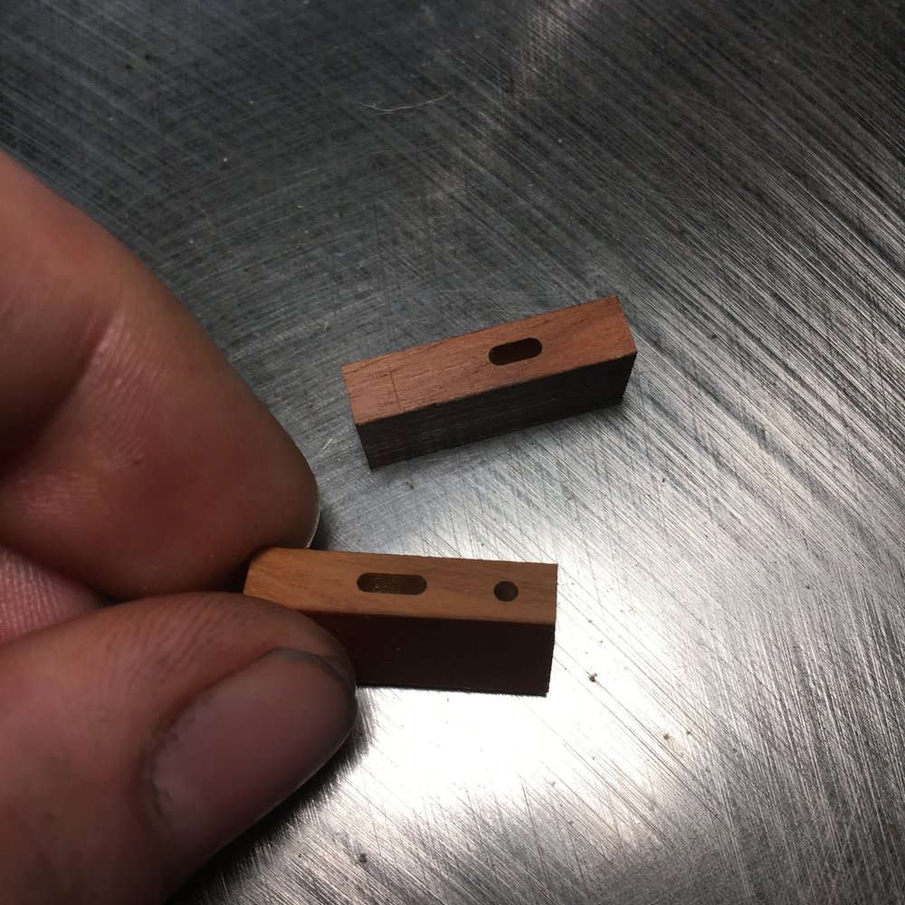 Mortise alignment test pieces