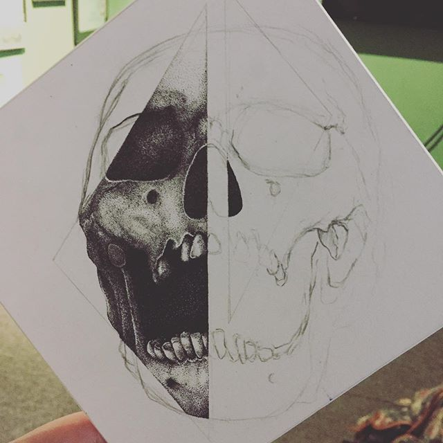 Still going. Taking too many hours to count already #stippling #drawing #skull #sketchbook #pen #artistoninstagram #tattoo