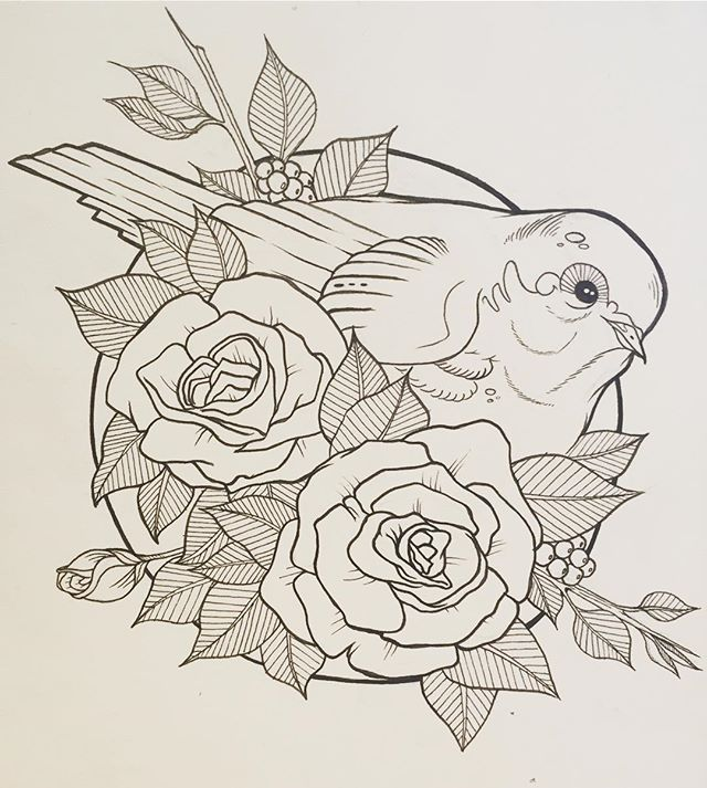 Drawing at the tattoo shop #tattoo #bird #roses #flowers #flash #tattooflash  #illustration #art #artist