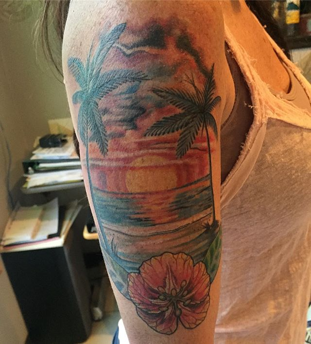 One sitting awesome tattoo by Brent Cummings #halfsleeve #tattooartist #art #keepsaketattoo #tattoo #paradise #palmtree #sunset