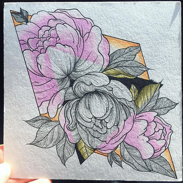Peonies #massachusetts #salisbury #bostontattoo #flashart #tattooart #flowers