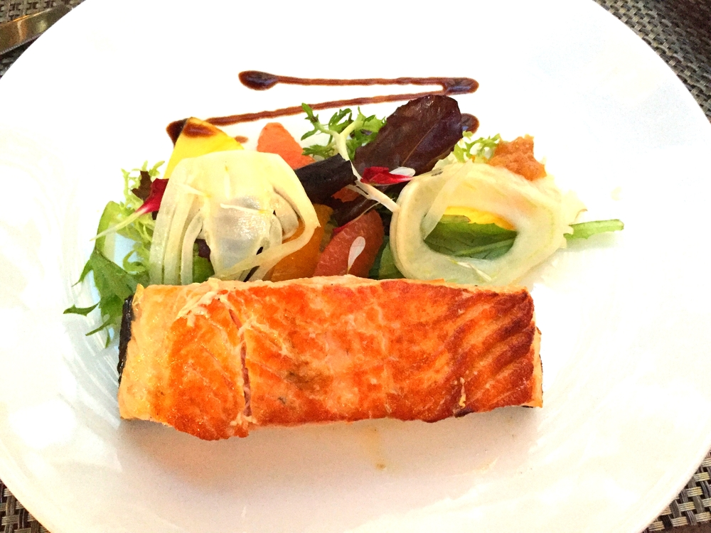 Wild Caught Salmon with Pollen Dust, Lemon Marmalade and Salad of Fresh Citrus and Fennel