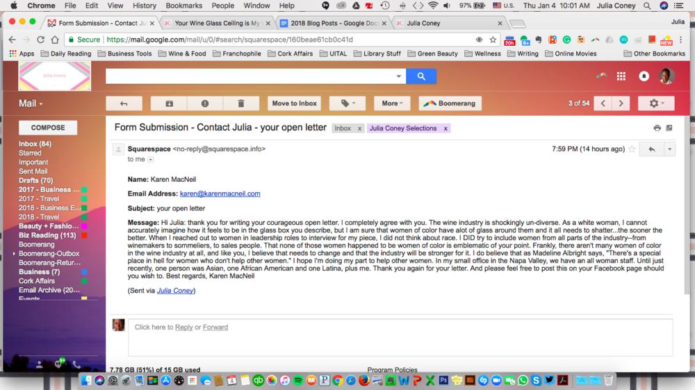 Karen MacNeil's Response to My Open Letter