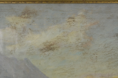 Detail of the mold on the surface of the painting and behind the glass