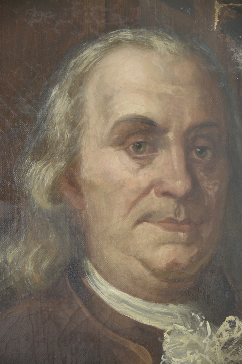 A during cleaning photograph - removal of yellow varnish and soot visible in the upper left portion of Ben's face.