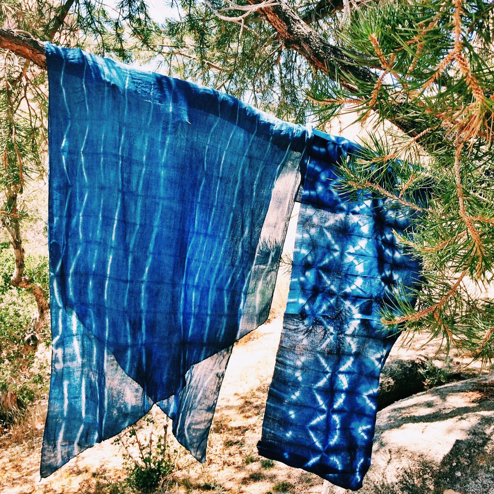 Indigo dying with Niki Livingston, I made the textile on the right!