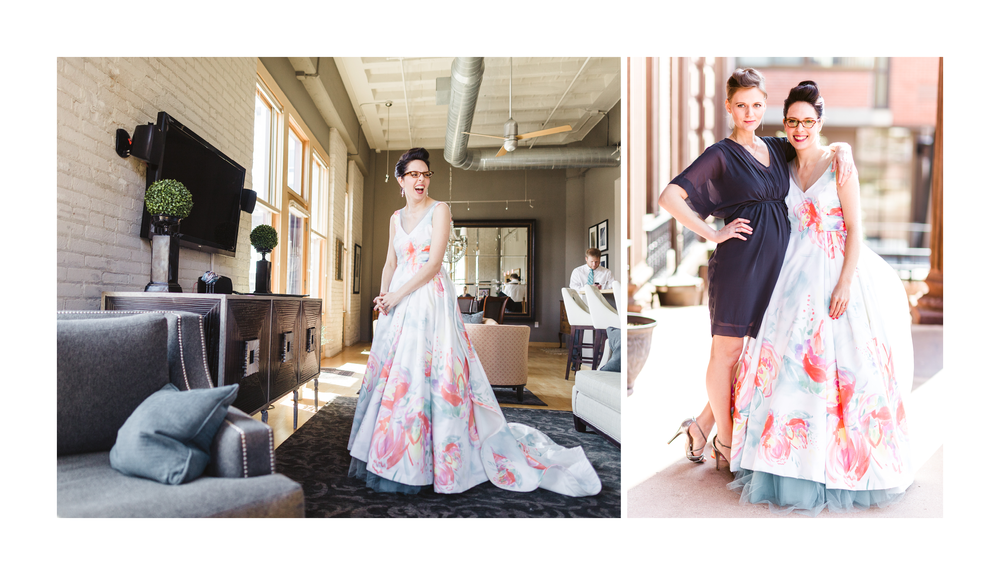 Images by  Valo Photography  | Custom fabric print design (watercolor original, digitized) by Schumann Studio | Custom Gown by  Mink Maids