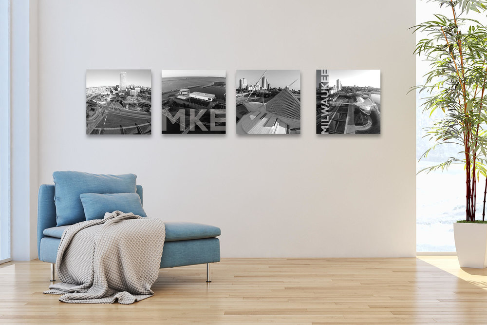 "A set of 4, 24"" x 24"" canvases (gallery-wraps) photographed by Benjamin Schumann featuring MKE's downtown with MAM, Discovery World & lakefront $500 (complimentary shipping)"