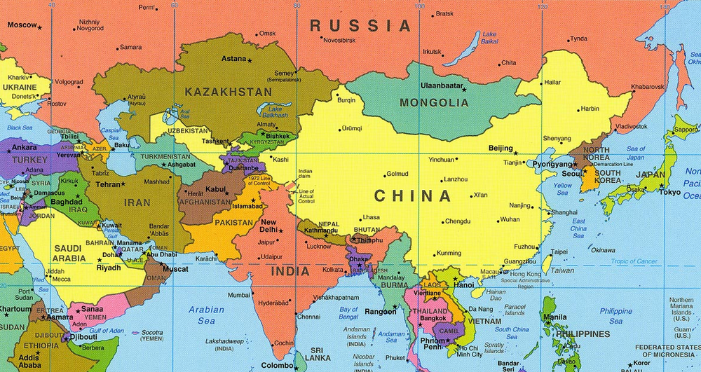 You can find Kyrgyzstan as one of the countries between Russia and India, marked as green.  Map source:  CIA , via  University of Texas Libraries
