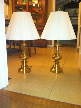 Brass Lamps $20 pair - Everyone is getting rid of their brass lamps, spray paint them and put some new shades on them and they'll look brand new! Check out this blog poston how easy they are to transform!