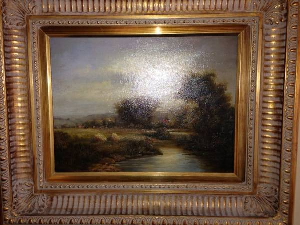 Antique Oil Painting $150  - A good oil painting can be a great addition to your decor, and a landscape such as this one provides visual interest without being too busy.