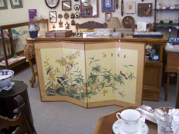 Asian Print Screen $50  -  A screen like this could be a beautiful piece of wall art in a dining room or living room. I've even seen these screens used as headboards.