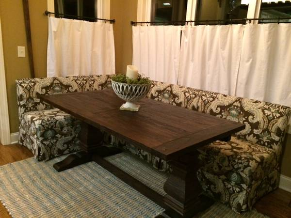 Ballard Designs Banquette $1000  - These banquettes are a custom order from Ballard and retail for over $2000 so if you were looking to do something similar in your home this would be a good option, Its less than a year old and seller is moving which is why they are selling.