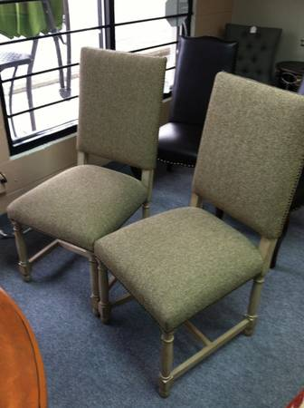 Pair of Chairs $99  - Can't quite tell from the photo what type of fabric this is but think these chairs could look nice as the head chairs at a dining room table.