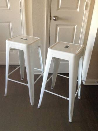 White Industrial Barstools $150