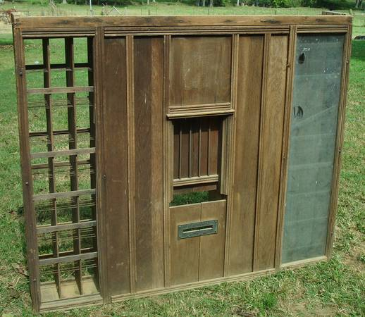 Antique Primitive Post Office Front Teller Window $1500