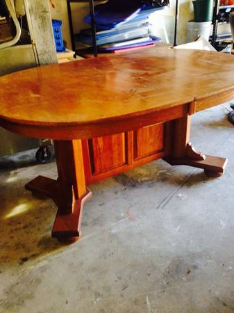 Oval Kitchen Table $50 - Great size table for the price.  I posted this table a week back and they've since lowered the price. Don't love the color? This table would be so pretty painted!
