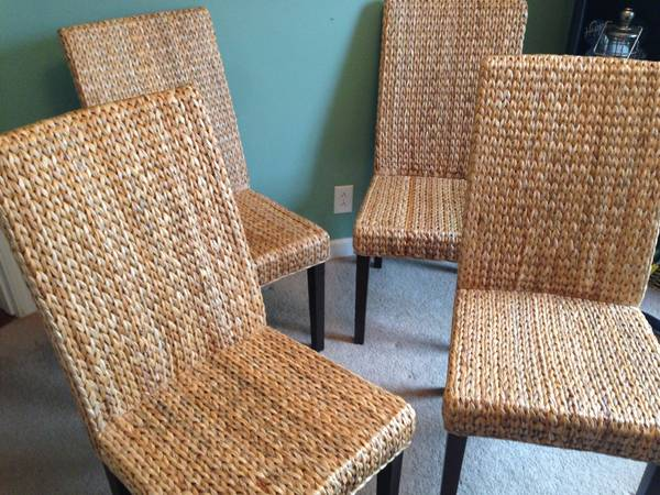 Banana Leaf Woven Dining Chairs (set of 4) $215