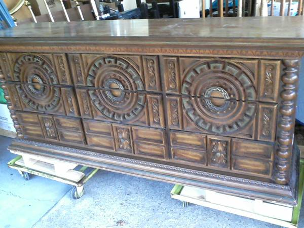 Dresser and Queen Headboard $250  - This is a really unique looking dresser and headboard and I think would look amazing painted!