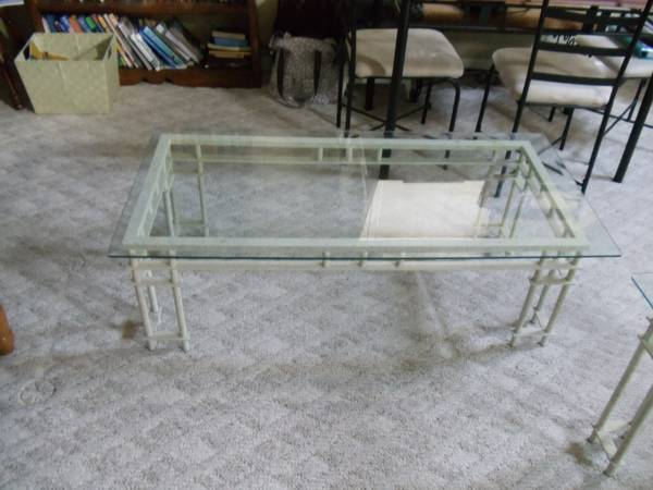 Coffee Table and End Table $55  - I think these tables would be really pretty, they are great as is but I think painted gold they could look really high end. This is  the look  I'm envisioning.