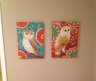 Owl Pictures $35  - I think these would be cute in a playroom or kid's room.