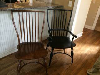 Kitchen Chairs (10 total - 2 black arm chairs and 8 of the wood ones) $250 _ These are great looking chairs and 10 for $250 is a good deal - could leave as is or paint.