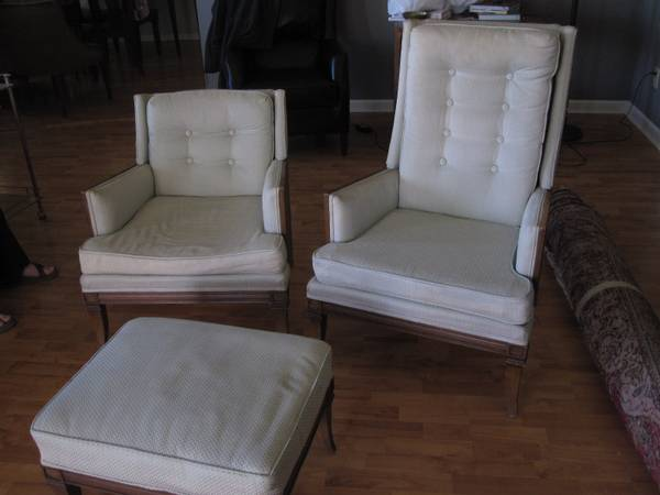 Mid Century Modern Chairs and Ottoman $200