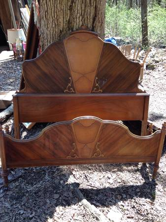 Antique Bedroom Set $350  - This is a gorgeous set, it includes a bed, vanity with mirror and dresser with mirror. Click on the link to see all the photos, it really is stunning. The bed is a full size, however remember you can use a full headboard with a queen bed you just can't use the footboard.
