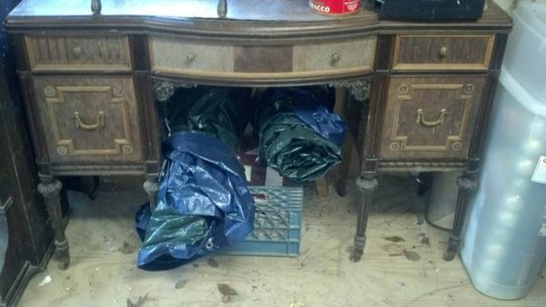 Antique Vanity with Stool $100 - Gorgeous old piece, it needs a little work but could be a really pretty when redone.