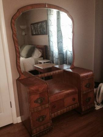 Vintage Bedroom Set $300  - Comes with dresser, vanity and headboard. Remember you can use a full size headboard with a queen bed as long as you don't use the footboard.