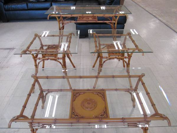 Set of 4 Tables $195  - These are some great pieces, set comes with a coffee table, 2 end tables and a sofa table. I love bamboo and faux bamboo furniture, I think these would look great spray painted a white, gray or black.