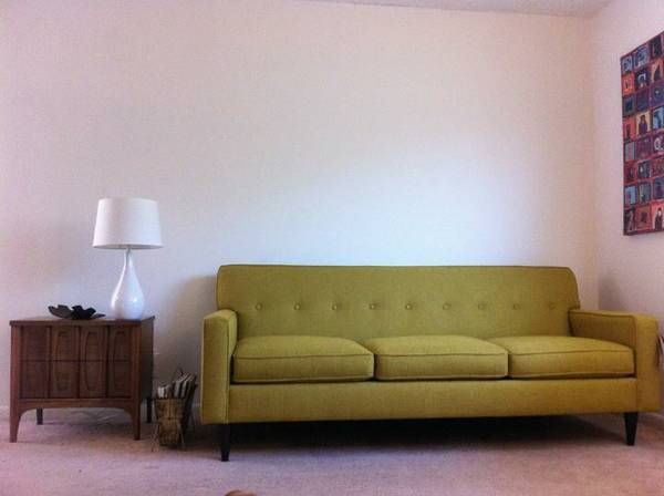 Mid Century Style Green Sofa $600  - I like this sofa and its only a year old. I think $600 is a little high for it but seller is moving so they may take less. If you are interested see if they'll take $500 for it.