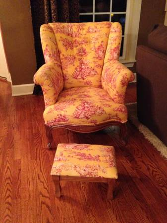 Toile Chair and Foot Stool $125  - This antique chair has been reupholstered with a red and yellow toile fabric.