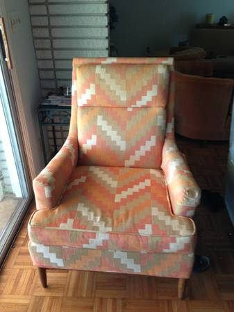 Mid Century Modern Chair $15  - Great price and I love this fabric! This unfortunately sold right after I posted. Good deals don't last on Craigslist!