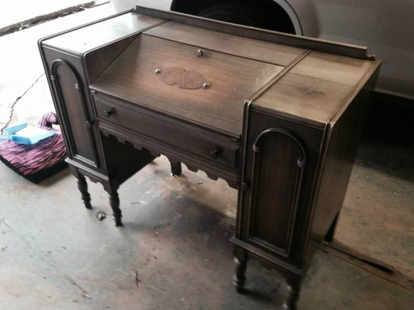 Antique Desk $180  - This is a gorgeous antique desk, I would leave as is the finish is a little worn but I think it works for this piece.