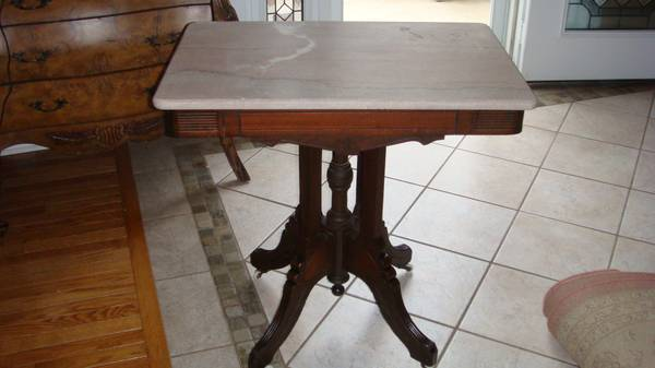Antique Eastlake Walnut and Marble Table $280