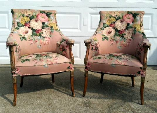 Pair of Antique Chairs $250  - These are gorgeous chairs and I actually really like the fabric on them. Big floral prints like this are making a comeback and I've seen them used in a lot of high end designs. Not sure what the exact condition of the fabric is but it would definitely be worth keeping.