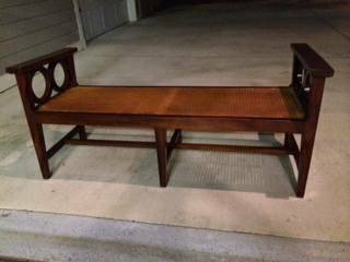 Wooden and Wicker Bench $75