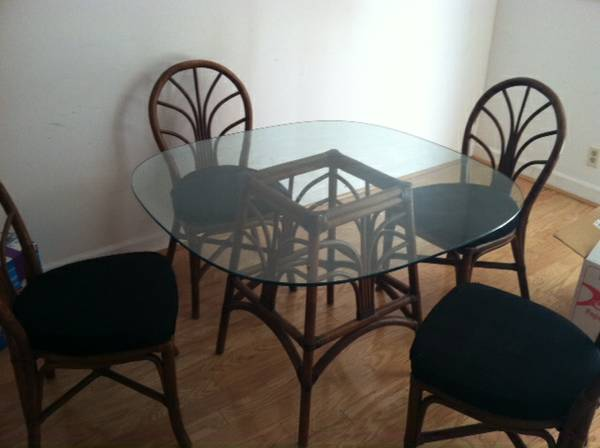 Table and Four Chairs $100  - This is a great price for a kitchen table set, I think the wood parts would look good painted. A glass table can be a really good option if you have a small space because it doesn't take up a lot of visual space.