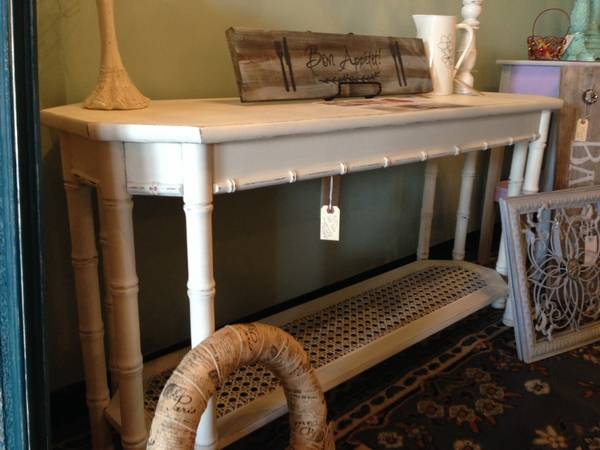 Sofa Table with Faux Bamboo and Cane accents $125  - This piece has already been redone. It's being sold at La vie en Rose Cottage in Lenox Village Shopping Center.