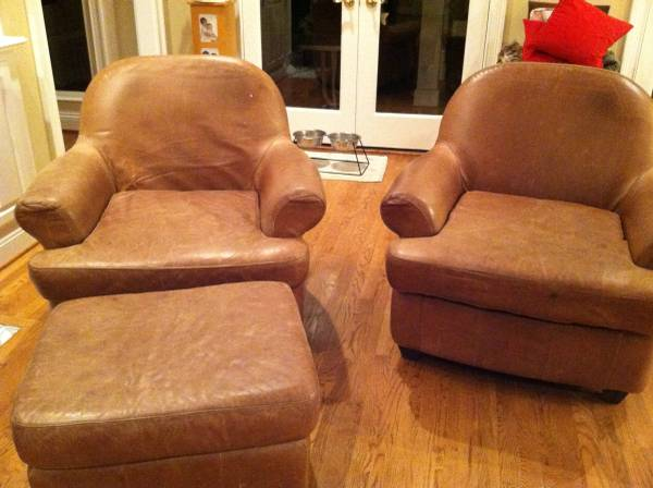 Pair of Leather Chairs and Ottoman $125  - These chairs look like that have that good worn look which could be great if you are going for a more rustic or shabby chic or even an industrial look in your room.