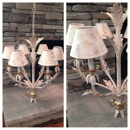 Chandelier $50  - I don't love the way this chandelier is painted, but I think it could be really cute with a fresh coat of spray paint and you could either get new shades or just get rid of them all together.
