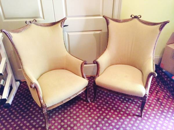 Pair of Antique Wingback Chairs $300