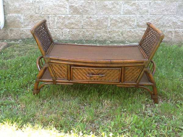 Wicker Bench $30  - I think this could be really cute at the end of a bed. I'd paint it and maybe put a cushion on it.