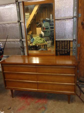 Danish Modern Dresser with Mirror $85 - This is a great deal and looks like its in good condition.