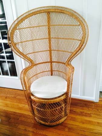 Wicker Peacock Chair $60  -  I saw a very  similar chair  on Chairish.com for $325.