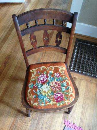 Antique Chair with Embroidered Seat $50