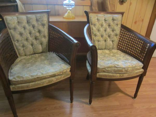 Pair of Cane Chairs $45  - This is a great deal. These chairs look fabulous redone.  Here's a great tutorial  on how to redo this style of chair.