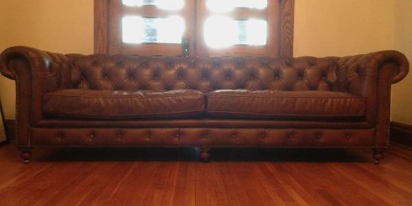 "Restoration Hardware 106"" Chesterfield Sofa $3500  - This is by no means a steal however if you were wanting this sofa from Restoration Hardware buying this one would save you at least $1000."